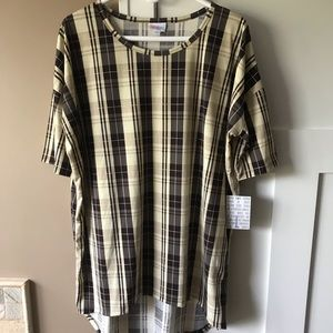 LuLaRoe Irma Large Brown & Cream Plaid